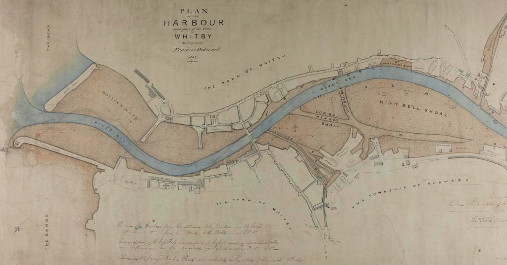 Plan of Whitby Harbour by Francis Pickernell, 1838