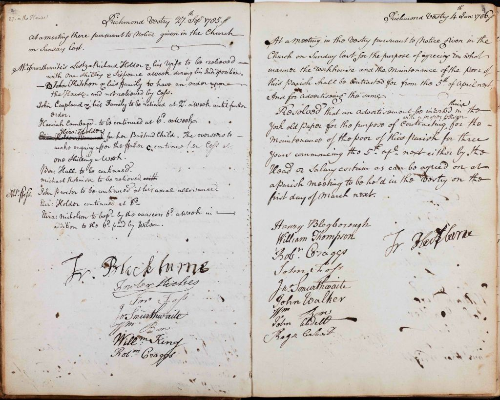 Pages from Vestry minutes 1785-1786