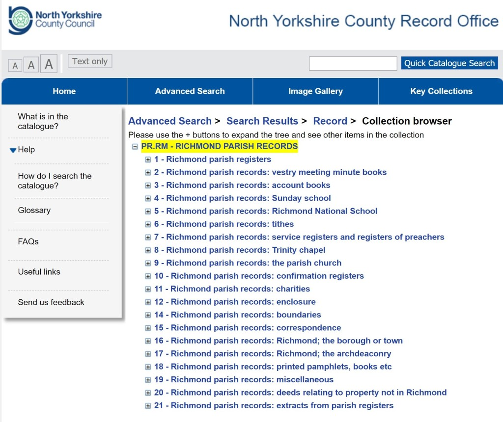 Summary of the Richmond Parish Records on our online catalogue