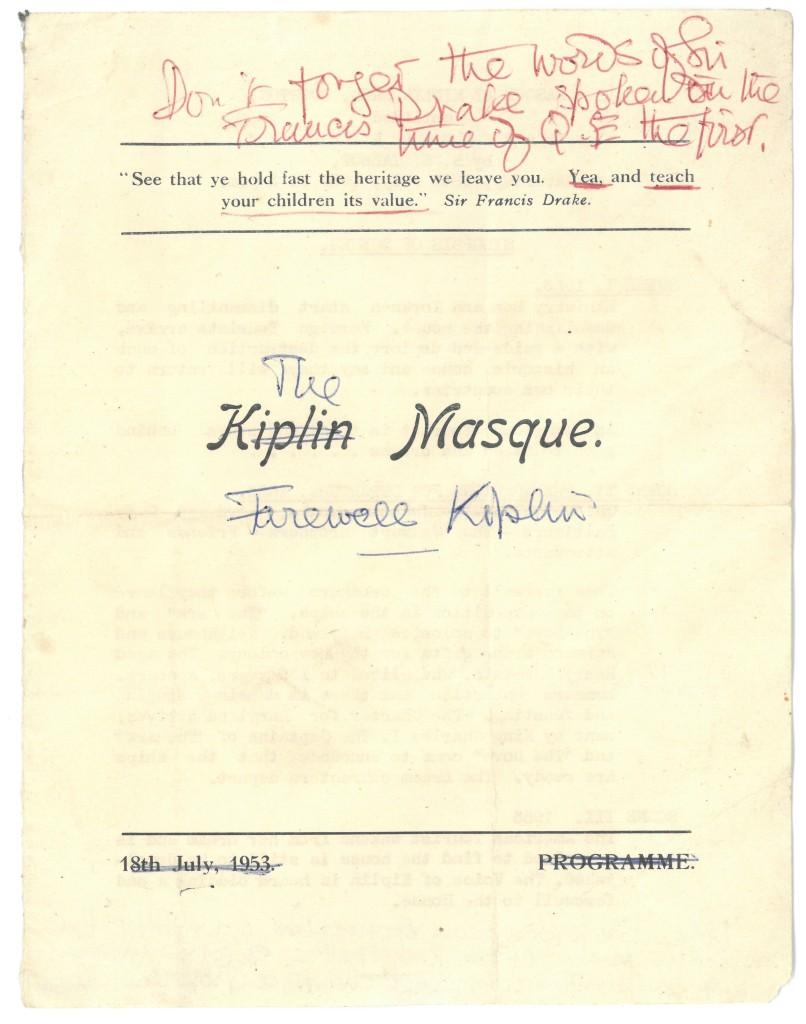Cover for Kiplin Masque programme, dated 18th July 1953 with handwritten amendments for The Marsque, Farewell Kiplin.