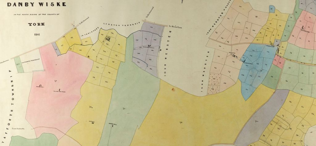 Section of the tithe map for Danby Wiske showing the numbered plots of land listed in the apportionment