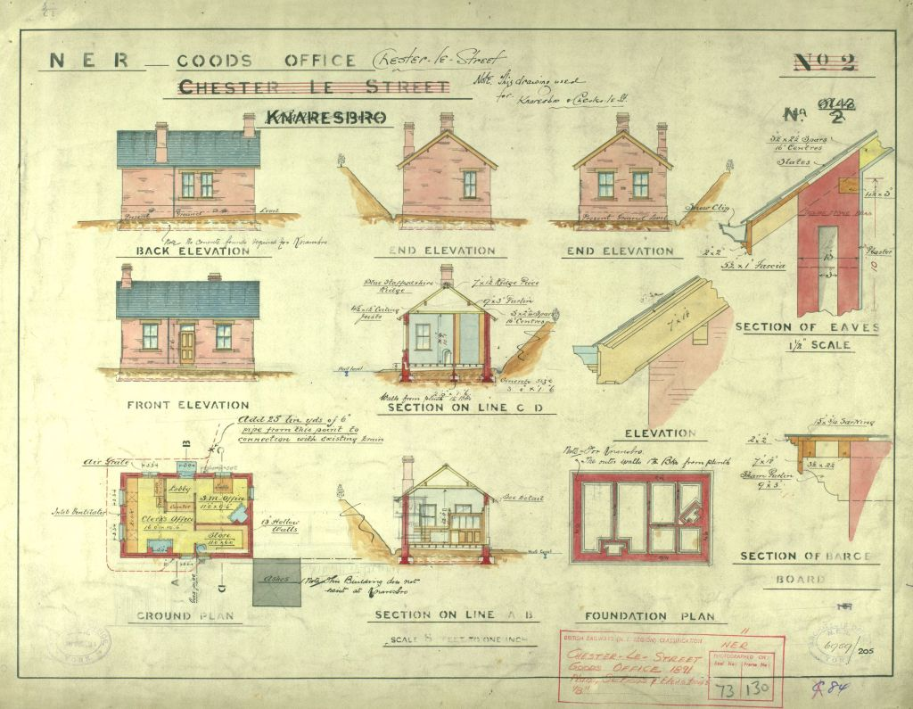 This plan shows various elevations of a single storey goods office and shows details of the roof design. The ground plan shows it included a lobby with a counter to the Clerk's office, an adjoining store and an office for the Station Master.