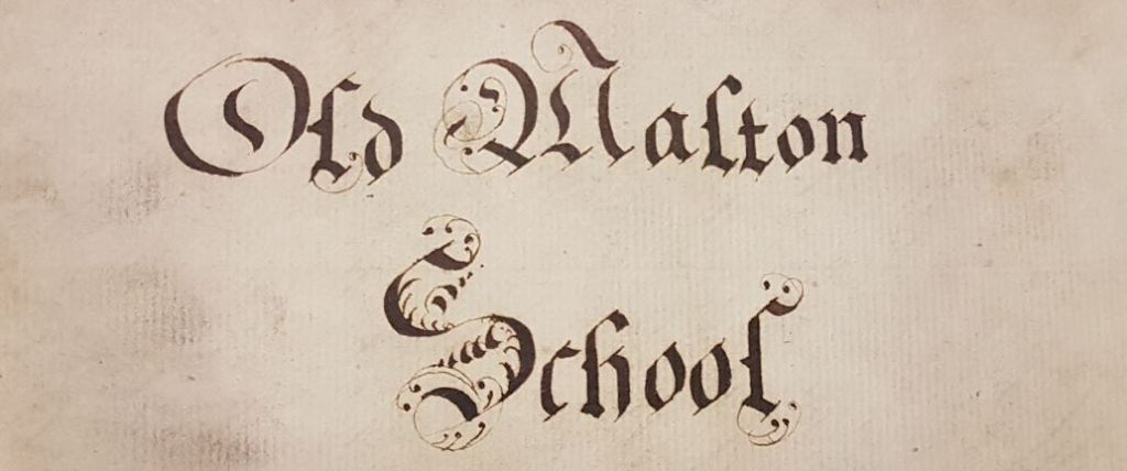'Old Malton School' Title on the reverse of an 18th century paper summarising the 35 statutes in the foundation charter for the better government of the school.
