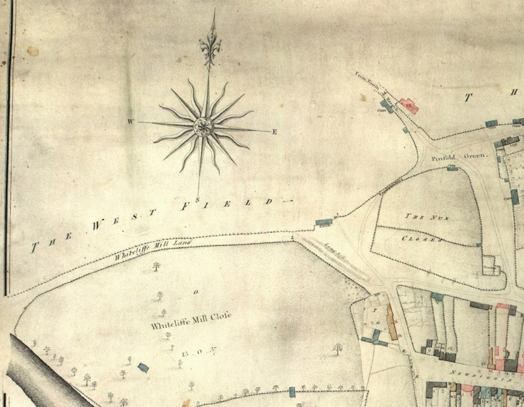 Close-up of the plan showing Whitecliffe Mill Lane