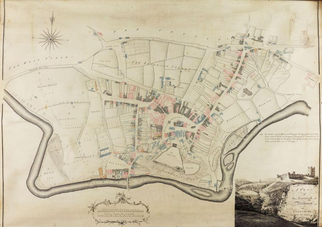 Plan of Richmond created in 1773 showing properties in different colours to indicate ownership.