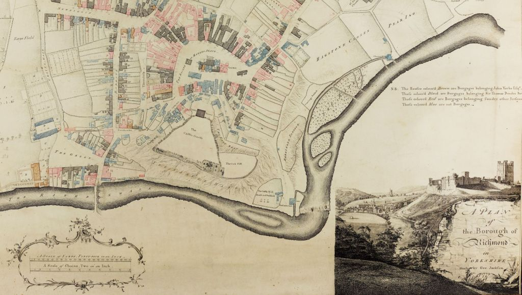 Close-up of the plan showing the river Swale