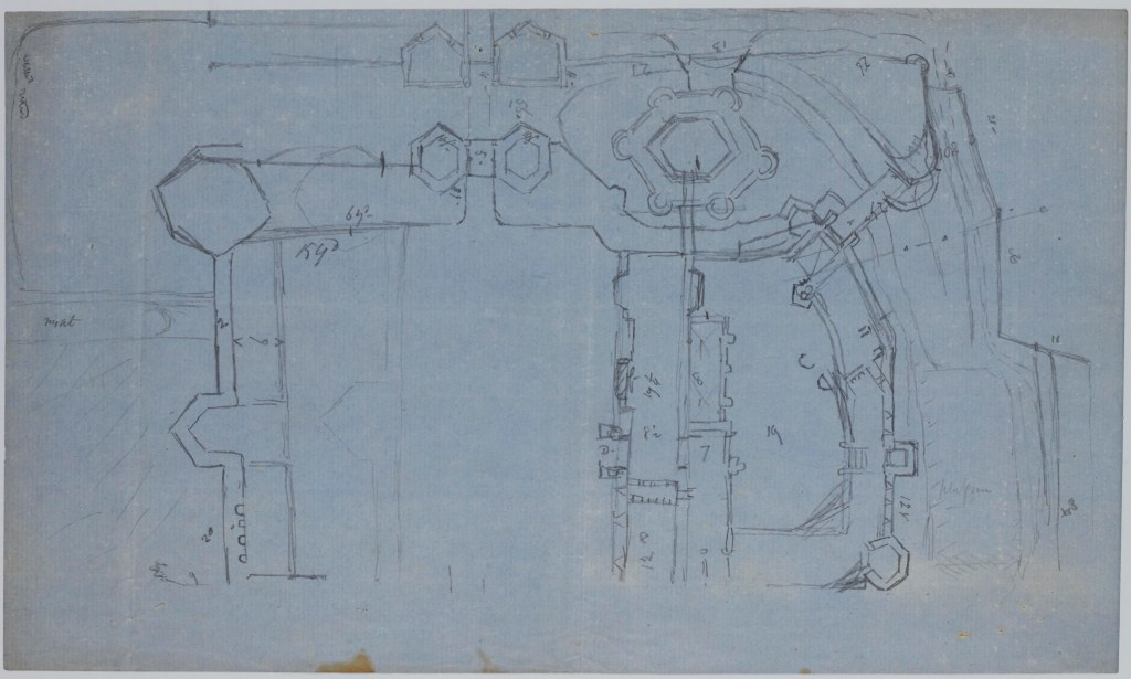 Pencil sketch plan accompanying notes on the Priory of Old Malton, 1887