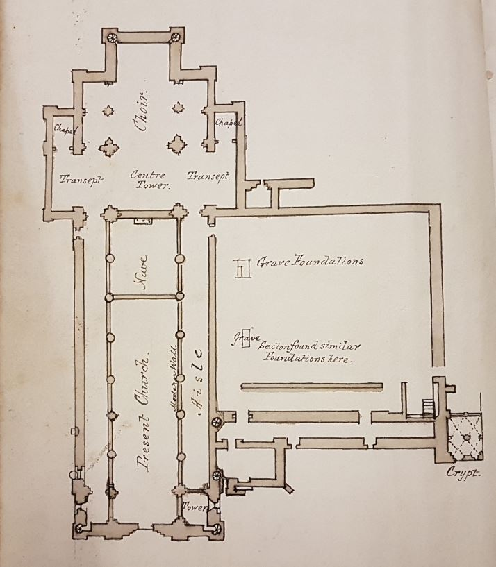 Undated plan showing the layout of St Mary's Church from within a handwritten notebook containing a history of Malton Abbey and description of St. Mary's Church.