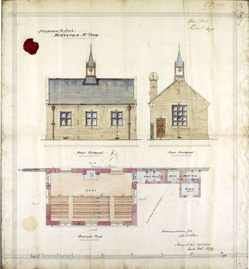 Plan for new school at Westerdale to accommodate 48 children. Shows elevation (brick built building with three windows and a bell on the roof) and ground plan.