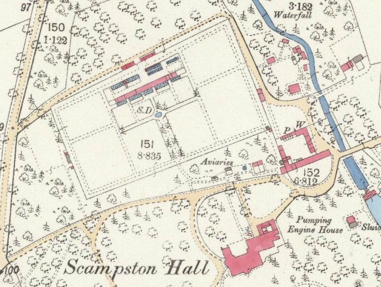 The large walled garden at Scampston Hall, shown on the first edition 25 inch to the mile Ordnance Survey map of 1891 (Yorkshire sheet CVIII.13, surveyed 1888)