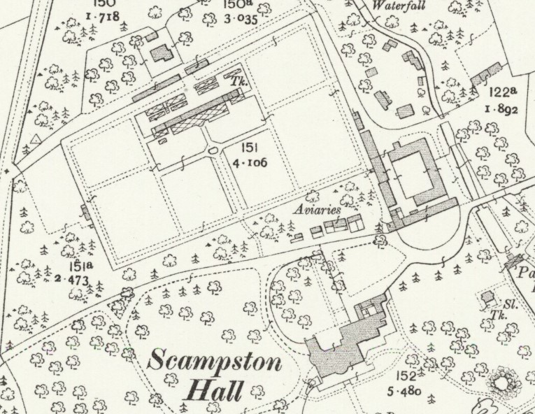 The new Richardson conservatory at Scampston Hall, shown on the second edition 25 inch to the mile Ordnance Survey map of 1911 (Yorkshire sheet CVIII.13, revised 1909)