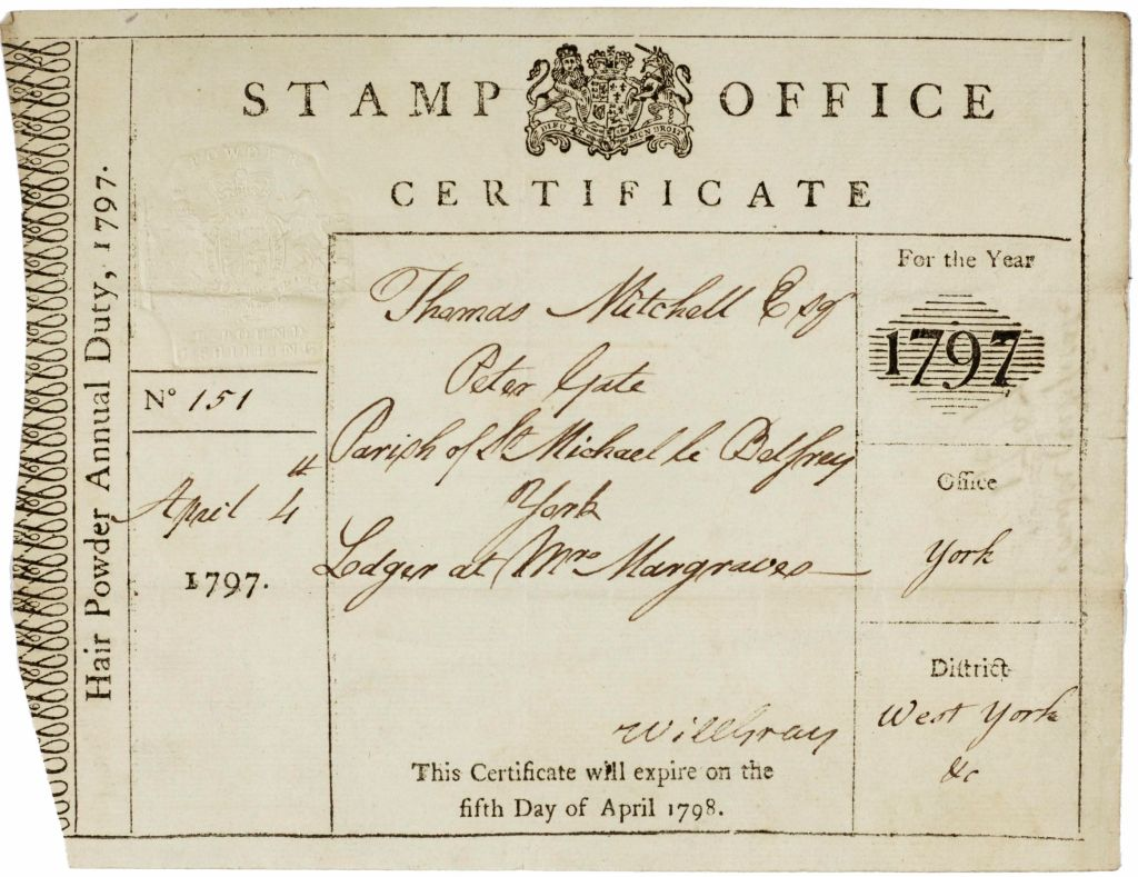 """A page from the register of hair powder tax certificates dated 1796. An example entry reads: """"Number of certificate: 42, date: 6th April 1792, Name: Mrs Mary Smelt, Description: Wife"""""""